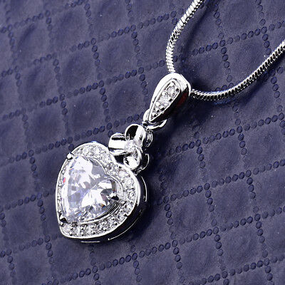 Clover Heart Clear Sapphire Crystal Silver Gold Filled Pendant Women Necklace