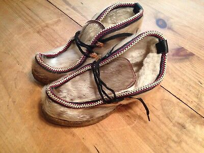 Vintage Handmade Ethnic Fur Shoes Unknown Size