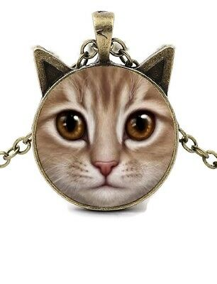 "Gold Tabby Cat With Ears 20"" Antique Gold Chain Glass Cabochon Pendant Necklace"