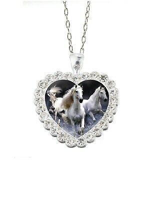 """Clear Rhinestone Heart White Horses 20"""" Chain Glass Cabochon Pendant Necklace"""