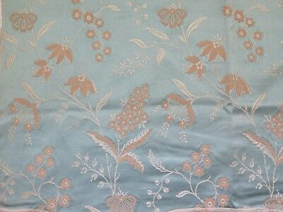 "French Antique 19thC Blue Patterned Silk Floral Jacquard Fabric~26""LX24""W"