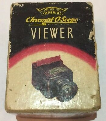 Vintage 1945 IMPERIAL CHROMAT-O-SCOPE SLIDE & STRIP FILM VIEWER IN BOX FREE SHIP