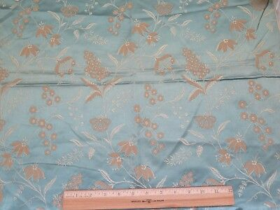 "French Antique 19thC Blue Patterned Lyon Silk Floral Jacquard Fabric~24""LX21""W"