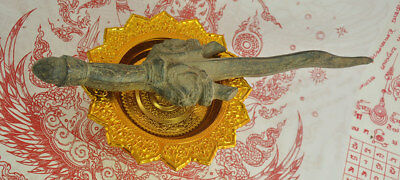 Antique Bronze King Khan Age Dagger Knife Sword Thai Khmer Ancient Rare Amulet