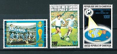 Cameroon 1978 Football World Cup complete set of stamps. Mint. Sg 837 - 839.