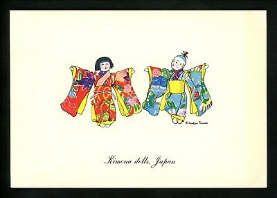 Costumes / Clothing postcard United Nations Dolls Artist Curro Japan Kimona