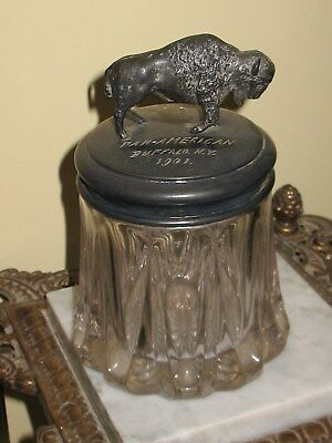 1901 Pan American Expo Buffalo World Fair Cigar Tobacco Jar Pattern with Buffalo