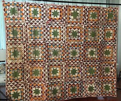 Antique Brown and Green Star Quilt, 75 x 95 inches.