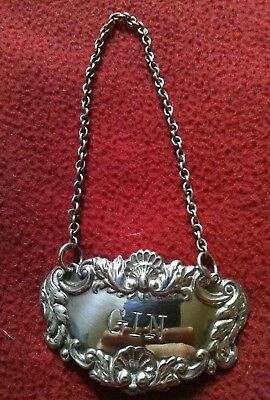 Solid Silver Gin Decanter Label