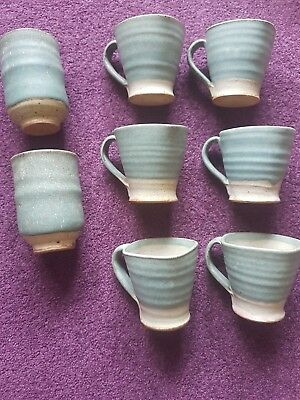 handmade clay cup set pottery glazed blue green