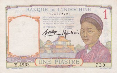 #French Banque de l'Indochine 1 Piastre 1932 P-54 XF+ Old Lao Issue