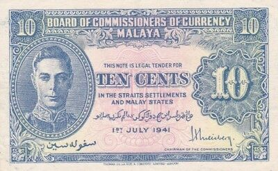 #Malaya and Straits Settlement 10 Cents 1941 P-8 XF+ King George VI