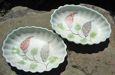 Pair Of Beautiful Vintage 1930's E Radford Handpainted Fluted Pin Dishes - Good