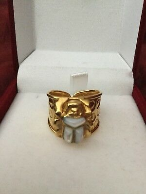 Rare Egyptian Stamped18K Solid Yellow Gold,fine Pearl SCARAB Ring Sizable Unisex