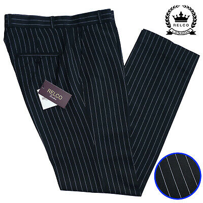 Relco Pinstripe Sta Press Trousers in Black Stay Pressed Vtg Retro Mod Golf Mens