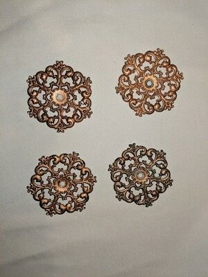 Vintage furniture applique Set of 4 Probably Copper Made in Japan round