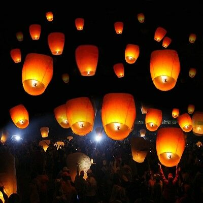 Paper Fly Chinese Lanterns 50 Pcs Sky Fire Festival Party Safe 3000 Feet Flight
