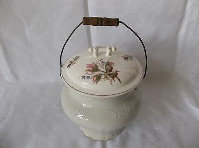 Antique Porcelain White Chamber Pot With Floral Accents On Lid & Bale Handle
