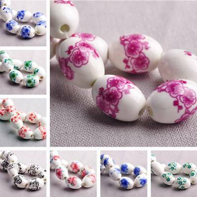 10pcs 18x12mm Oval Flower Pattern Loose Spacer Ceramic Porcelain Beads DIY Craft