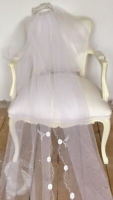 Vintage Tulle & Embroidery Wedding Veil With Tiara & Long Train