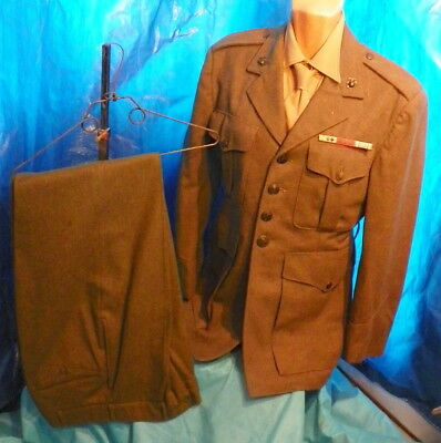 Ww2 Usmc Enlisted Man's Outfit: Tunic W/ Ribbons, Pants, Shirt & Tie, Named
