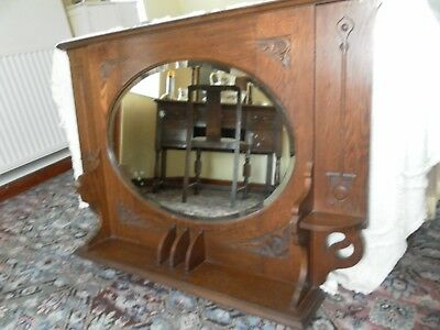 arts and crafts/art nouveau over mantle mirror in wood, vintage/antique.