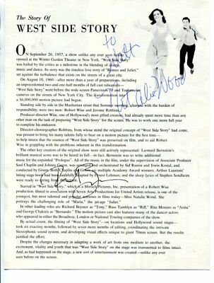 west side story NATALIE WOOD & RICHARD BEYMER autograph HAND SIGNED 3268