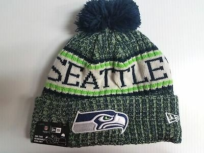 1b116a0cd41 Seattle Seahawks New Era Knit Hat On Field 2018 Sideline Beanie Stocking Cap