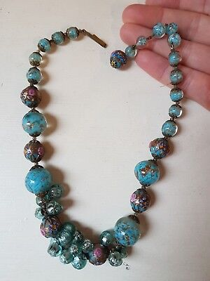 VINTAGE JEWELLERY unusual Italian Murano lampwork wedding cake glass necklace.