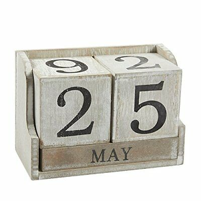Calendar Block Wooden Perpetual Desk Home Office Decor Tabletop Decoration