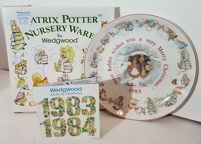 Vintage 1983 Wedgwood Peter Rabbit Beatrix Potter Merry Christmas Plate W/ Box