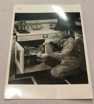 1950s Boy Scout Photo Postcard Cooking Baking Oven
