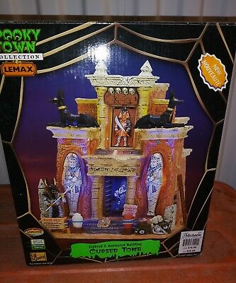 """Lemax Spooky Town 2007 """"Cursed Tomb"""" Halloween Lighted Animated #75500"""