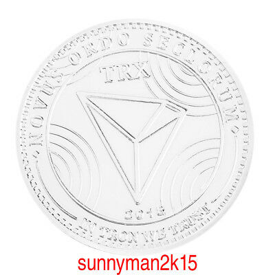 TRX Silver Zinc Alloy Plated Bitcoin Commemorative Round Bit Coin Art Collection