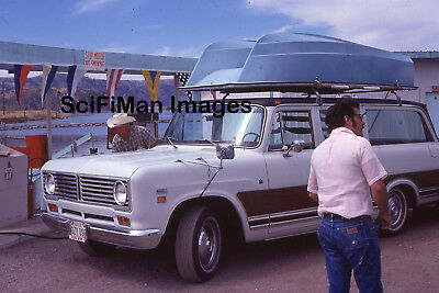 Vintage 35mm Slide International Harvester Travelall Gas Station Boat Men 1974!