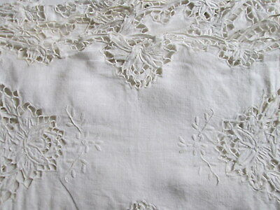 CUTWORK LACE PLACEMATS Antique Set Of 8 White Linen Embroidered Flowers Vintage