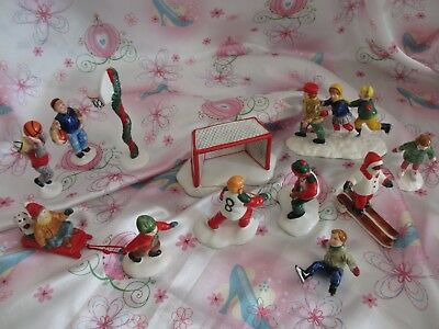 Dept 56 Snow Village Accessories Lot Of Kids...hockey...basketball...skaters...