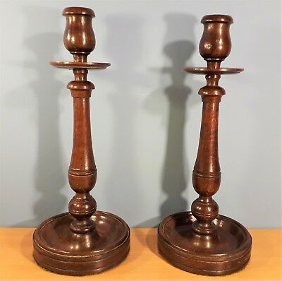 Pair of Antique Victorian Large Wooden Oak Candlesticks