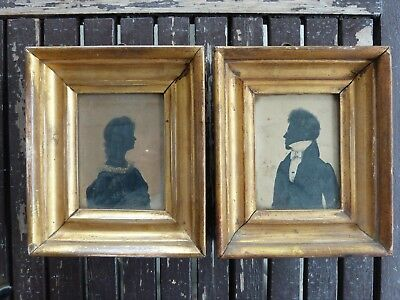 Pair of Original Antique Georgian Silhouette Paintings in Gilt Frames