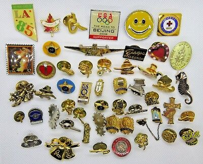 Lot Lapel Hat Tack Pins Vintage - Now Companies Organizations Travel School Misc