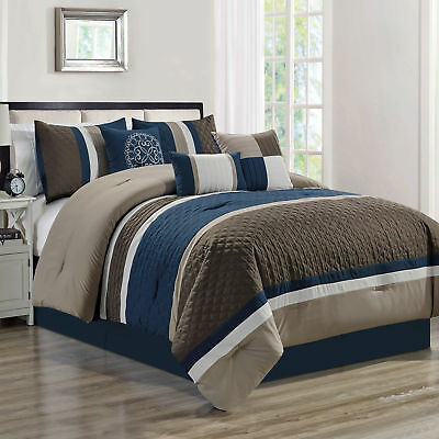 Chezmoi Collection 7-Piece Quatrefoil Pleated Striped Comforter Set, Navy/Taupe