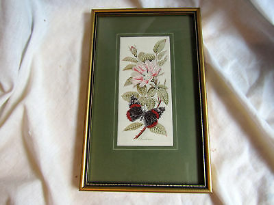 Vintage Framed Cashs Silk Embroidery Red Admiral - Downy Rose