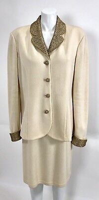 St. John Evening by Marie Gray size 14 Knit 2pc Suit Jacket & Skirt Cream / Gold