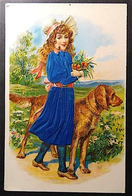 Postcard Gorgeous Colorful Real Fabric Dress Girl with Irish Setter Dog