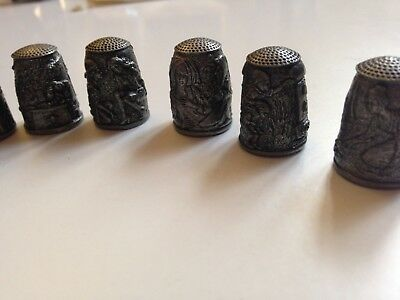 Grimm's Fairy Tales Thimbles from Franklin Mint Pewter (9)