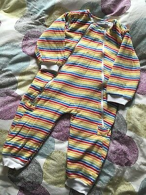 JoJo Maman Bebe Snuggle Suit 18-24 Months - Rainbow Stripe - Great For Wrigglers