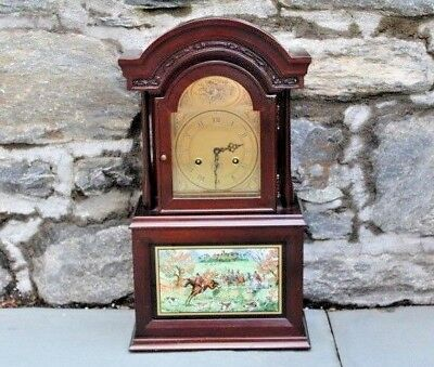Vintage Franz Hermle Brass & Wood Old Berkshire Foxhound Clock ~ 20""
