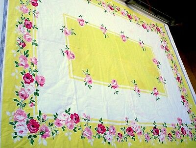 Vintage 40's Pink Rose w Lime yellow trim Flower floral tablecloth