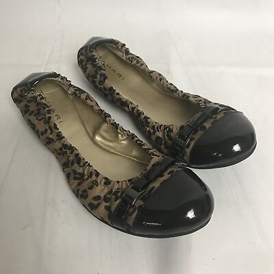 ed03f2faf5ad Tahari Ballerina Flats Shoes Size 6 Black Brown Animal Print Veronica Ballet  New