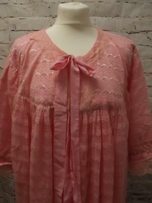 Vtg Nylon Pink Lacy Peignoir Negligee Nightie Gown Robe Flouncy Frilly Sissy Xl